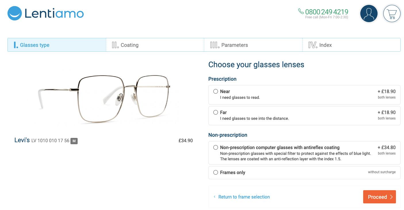how to shop glasses online at Lentiamo